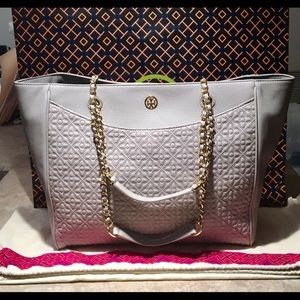 Tory Burch Gray Quilted Leather Bryant Tote Bag